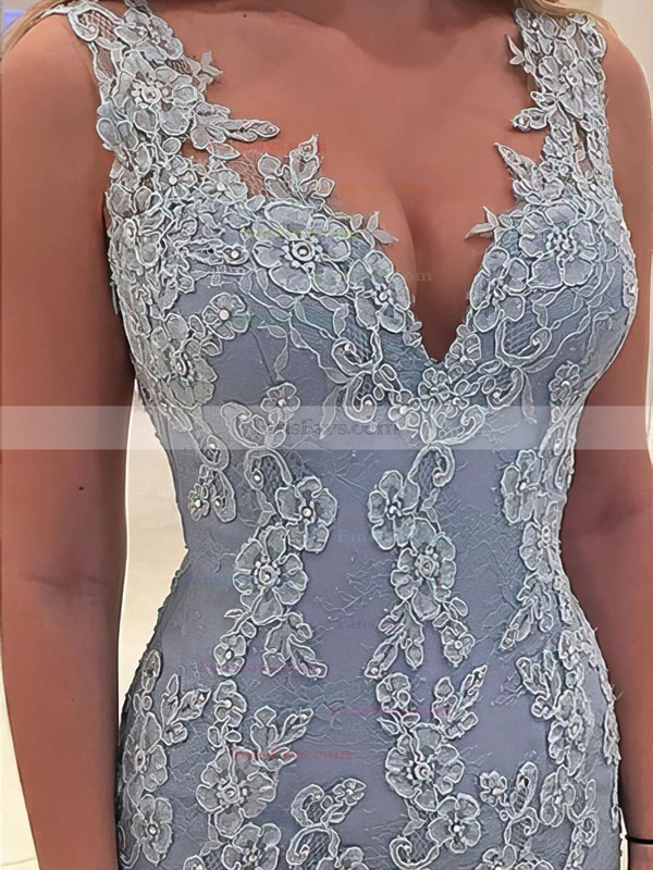 Trumpet/Mermaid V-neck Lace Sweep Train Appliques Lace Prom Dresses #Favs020102866