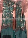 A-line Scoop Neck Chiffon Floor-length Beading prom dress #Favs020106011