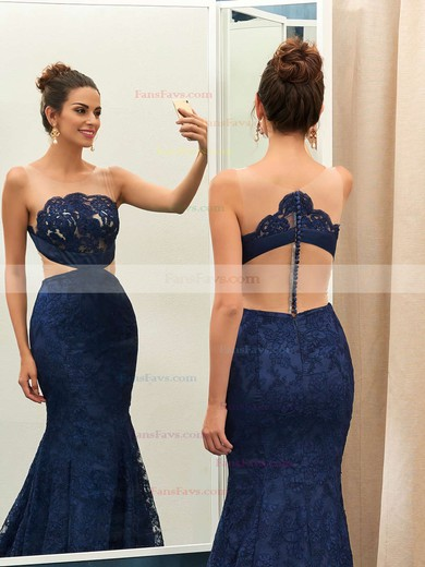 Trumpet/Mermaid Scoop Neck Court Train Tulle Prom Dresses with Appliques Lace #Favs020102867