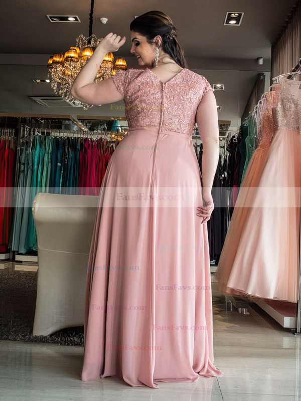 A-line Scoop Neck Chiffon Floor-length Appliques Lace prom dress #Favs020106023