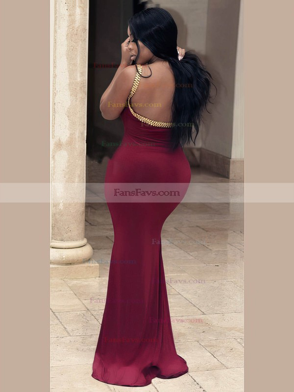 Trumpet/Mermaid Scoop Neck Jersey Floor-length Beading prom dress #Favs020106025