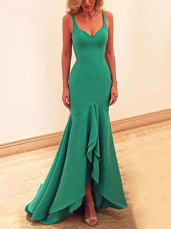 Trumpet/Mermaid V-neck Asymmetrical Jersey Prom Dresses #Favs020102466