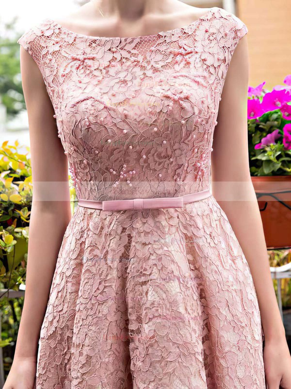 A-line Scoop Neck Lace Tea-length Sashes / Ribbons Prom Dresses #Favs020102877