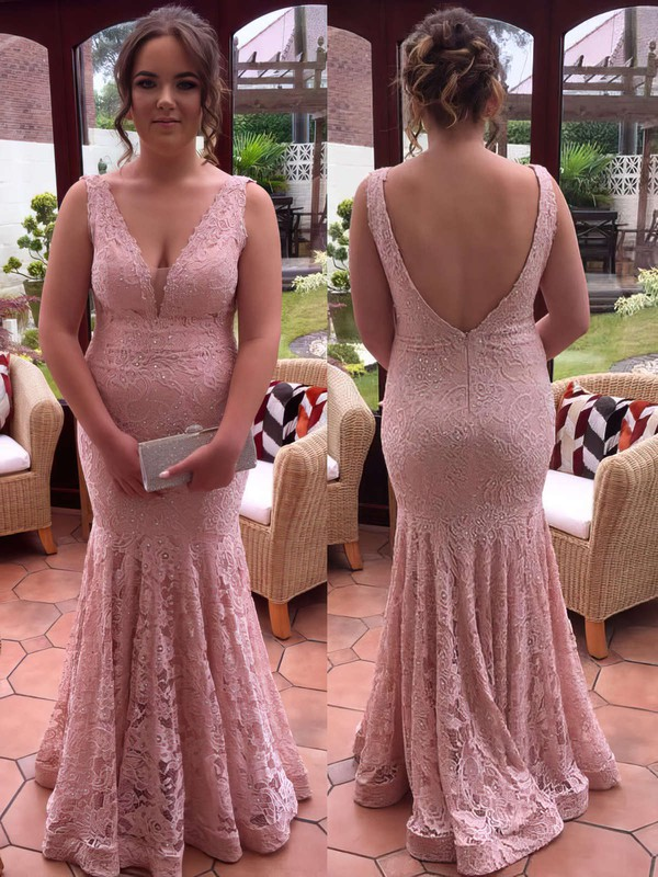 Trumpet/Mermaid V-neck Lace Floor-length Sequins Prom Dresses #Favs020106019