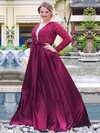 A-line V-neck Floor-length Satin Prom Dresses with Beading Ruffle #Favs020105950