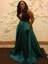 A-line V-neck Floor-length Satin Prom Dresses with Beading #Favs020105951