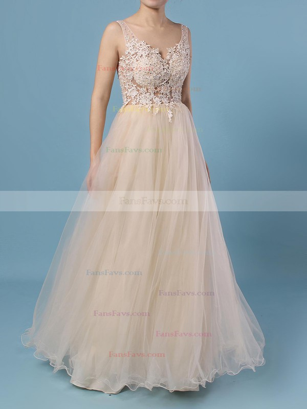 A-line V-neck Floor-length Tulle Prom Dresses with Sequins Appliques Lace #Favs020102889