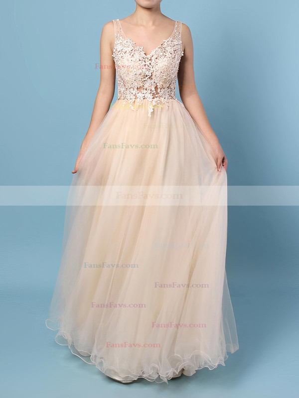 Princess V-neck Tulle Floor-length Appliques Lace Prom Dresses #Favs020102889