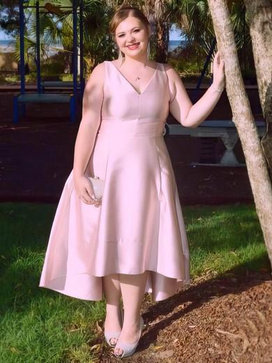 A-line V-neck Tea-length Satin Prom Dresses #Favs020106021