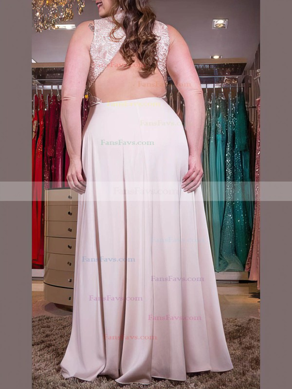 A-line V-neck Floor-length Satin Chiffon Prom Dresses with Lace #Favs020105999