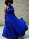 A-line One Shoulder Silk-like Satin Floor-length Draped prom dress #Favs020106003
