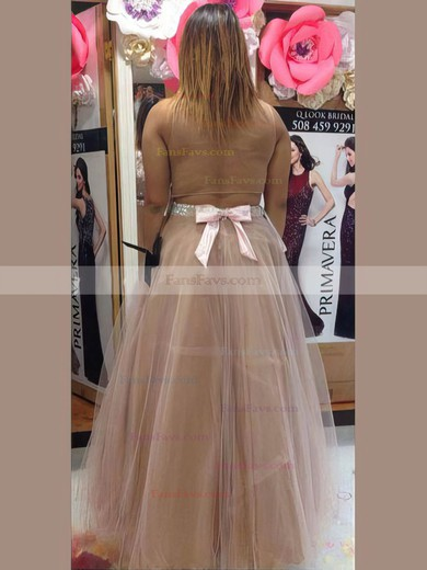 A-line Scoop Neck Floor-length Tulle Prom Dresses with Beading Bow #Favs020105964