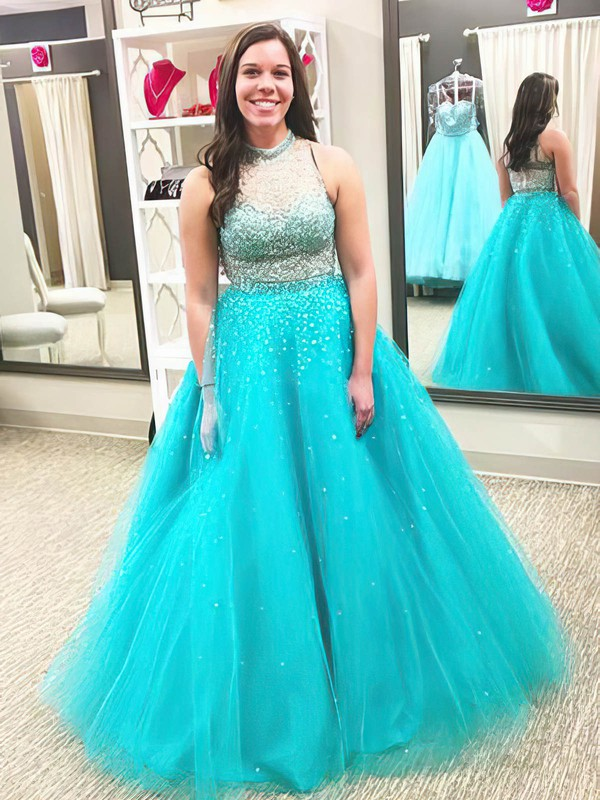 Princess High Neck Tulle Floor-length Beading prom dress #Favs020105968