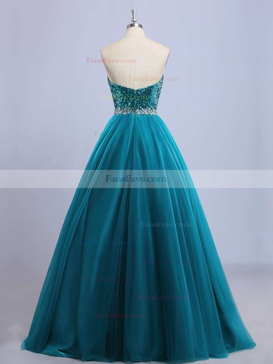 Princess Sweetheart Floor-length Tulle Sequined Prom Dresses with Beading #Favs020102908