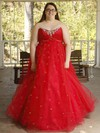 Princess Strapless Tulle Floor-length Beading prom dress #Favs020106000