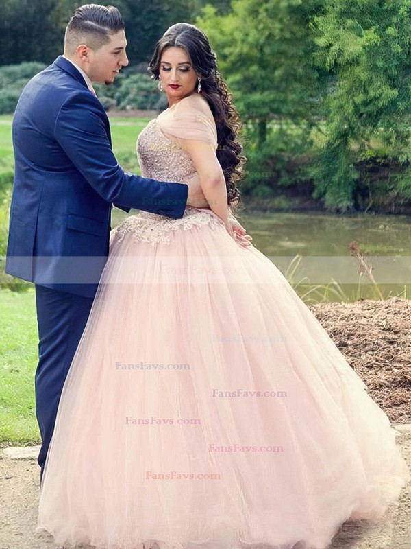 Princess Off-the-shoulder Floor-length Tulle Prom Dresses with Appliques Lace Ruffle #Favs020106008