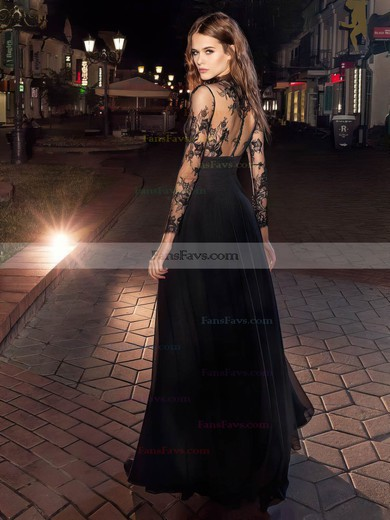 A-line High Neck Floor-length Chiffon Prom Dresses with Appliques Lace Ruffle #Favs020106030