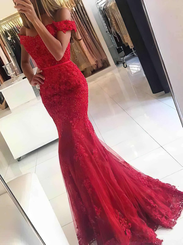 Trumpet/Mermaid Off-the-shoulder Tulle Floor-length Appliques Lace Prom Dresses #Favs020102938