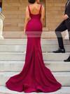 Trumpet/Mermaid V-neck Stretch Crepe Sweep Train Split Front Prom Dresses #Favs020106033