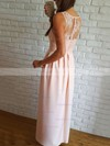A-line V-neck Floor-length Lace Silk-like Satin Prom Dresses with Split Front #Favs020106037