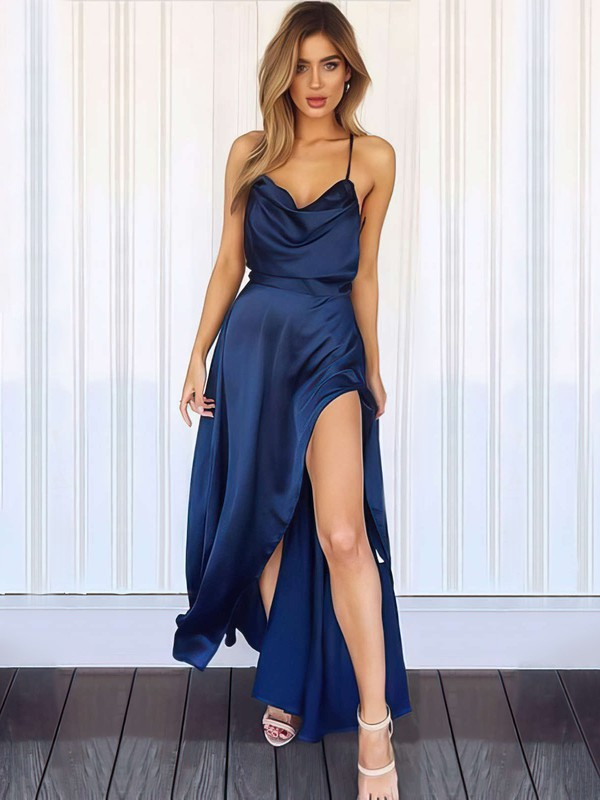 Sheath/Column Cowl Neck Silk-like Satin Ankle-length Split Front Prom Dresses #Favs020106046