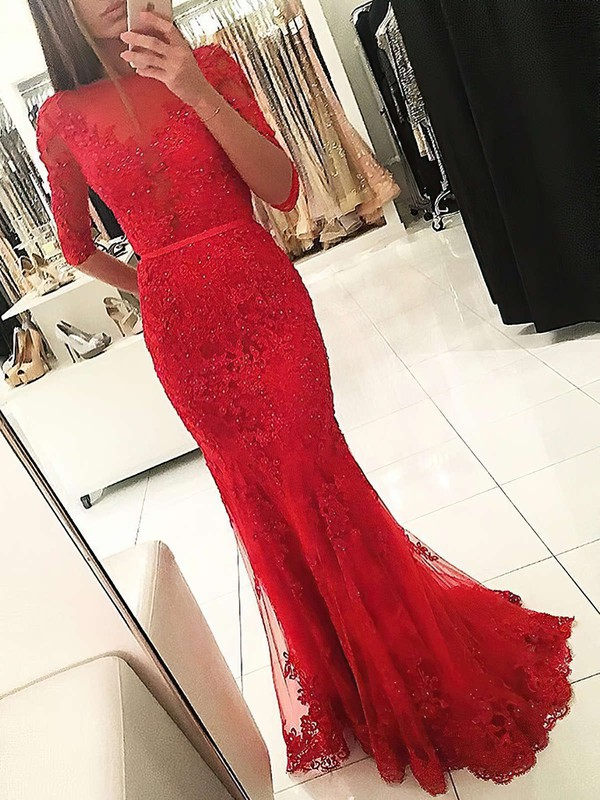 Trumpet/Mermaid Scoop Neck Tulle Floor-length Appliques Lace Prom Dresses #Favs020103022