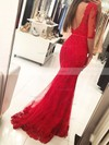 Trumpet/Mermaid Scoop Neck Floor-length Tulle Prom Dresses with Appliques Lace Sashes #Favs020103022