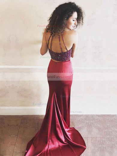 Sheath/Column Halter Satin Sweep Train Beading Prom Dresses #Favs020106054