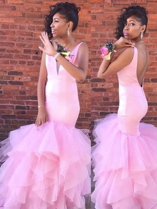 Trumpet/Mermaid V-neck Satin Tulle Floor-length Cascading Ruffles Prom Dresses #Favs020106056