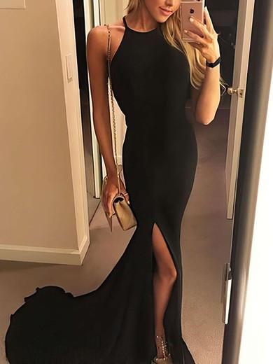 Sheath/Column Halter Floor-length Jersey Prom Dresses with Split Front #Favs020106060