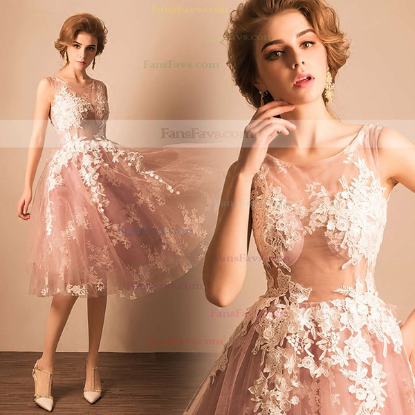 Ball Gown Scoop Neck Tulle Tea-length Appliques Lace Prom Dresses #Favs020103045