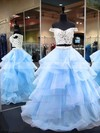 Princess Off-the-shoulder Organza Floor-length Appliques Lace Prom Dresses #Favs020106069