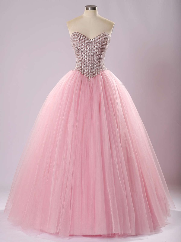 Ball Gown Sweetheart Tulle Floor-length Beading Prom Dresses #Favs020103056
