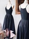 A-line V-neck Satin Asymmetrical Prom Dresses #Favs020106072