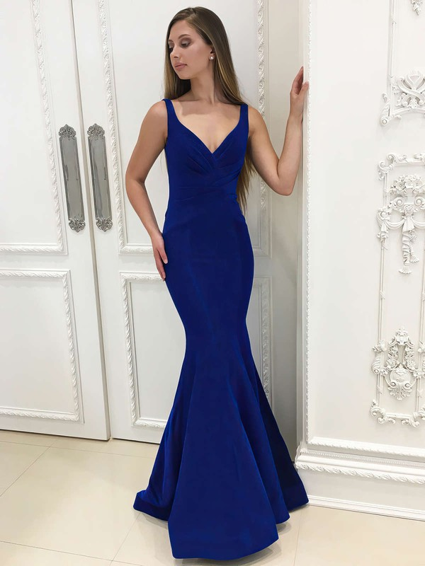 Trumpet/Mermaid V-neck Floor-length Velvet Prom Dresses with Ruffle #Favs020106073