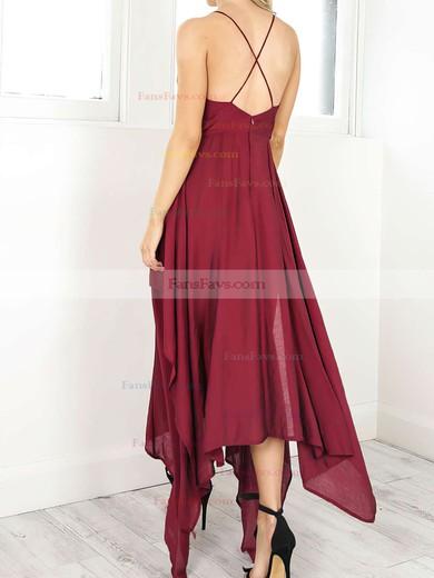 A-line V-neck Chiffon Asymmetrical Split Front Prom Dresses #Favs020106076