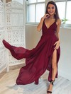 A-line V-neck Asymmetrical Chiffon Prom Dresses with Split Front #Favs020106076