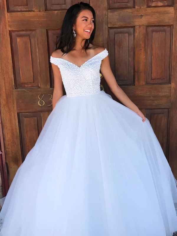 Ball Gown Off-the-shoulder Tulle Floor-length Beading Prom Dresses #Favs020106082