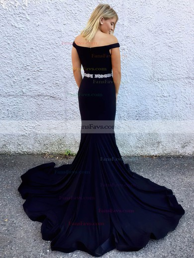 Trumpet/Mermaid Off-the-shoulder Satin Sweep Train Beading Prom Dresses #Favs020106084