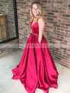 Ball Gown V-neck Satin Floor-length Beading Prom Dresses #Favs020106085