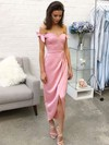 Sheath/Column Off-the-shoulder Tea-length Silk-like Satin Prom Dresses with Bow Split Front #Favs020106087