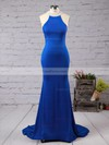 Trumpet/Mermaid High Neck Jersey Sweep Train Beading Prom Dresses #Favs020102490