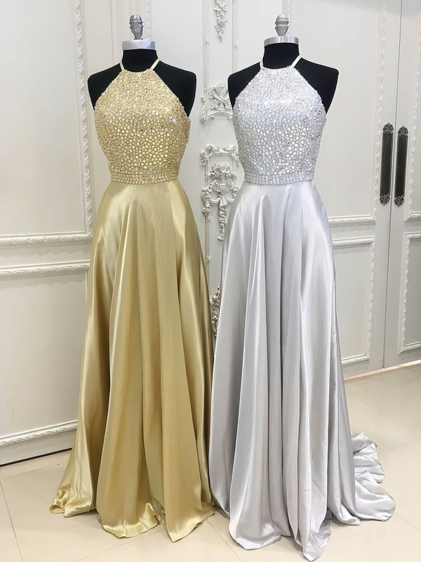 A-line Scoop Neck Silk-like Satin Sweep Train Beading Prom Dresses #Favs020106094