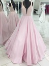 Ball Gown V-neck Satin Floor-length Beading Prom Dresses #Favs020106096