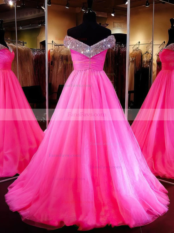 Ball Gown Off-the-shoulder Tulle Sweep Train Crystal Detailing Amazing Prom Dresses #Favs020103112