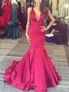 Trumpet/Mermaid V-neck Silk-like Satin Sweep Train Prom Dresses #Favs020106101
