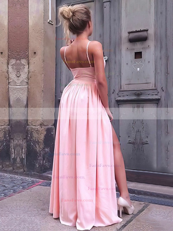 A-line V-neck Silk-like Satin Floor-length Split Front Prom Dresses #Favs020106103