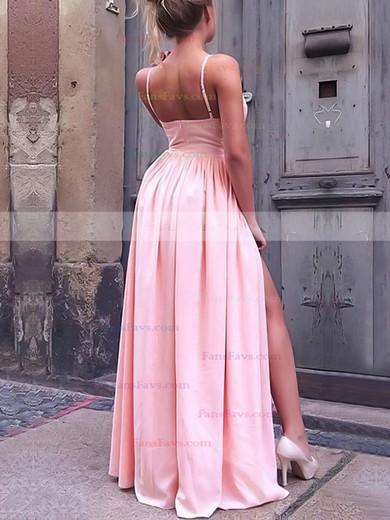 A-line V-neck Floor-length Silk-like Satin Prom Dresses with Ruffle Split Front #Favs020106103