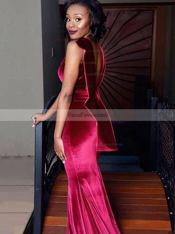 Trumpet/Mermaid Scoop Neck Sweep Train Velvet Prom Dresses with Sashes Split Front #Favs020106107