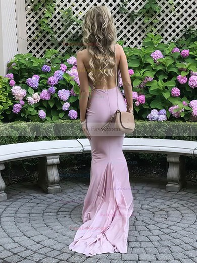 Trumpet/Mermaid Halter Jersey Sweep Train Sashes / Ribbons Prom Dresses #Favs020106109